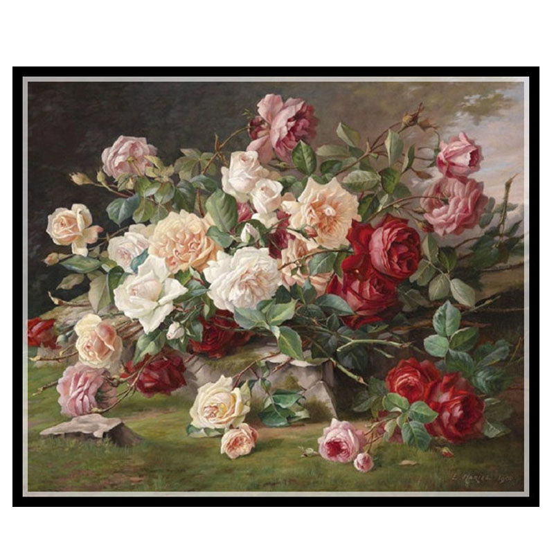 Needlework DIY DMC 14CT Cross stitch Kit Roses Bouquet II Counted Pattern Embroidery Cross stitch Painting