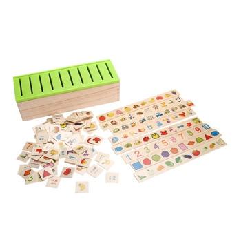 Ahşap Sınıflandırma Oyuncak Kutusu Montessori Çocuklar Desen Eşleşen Sınıflandırmak Oyuncak Eğitici Geometri Meyve Hayvan Öğrenme Maç Oyuncak