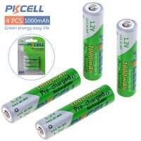 Pkcell NI-MH 4 piezas 1,2 v AAA 1000mah batería recargable baterías de hasta 1000 veces circulares para Control remoto juguetes Cámara