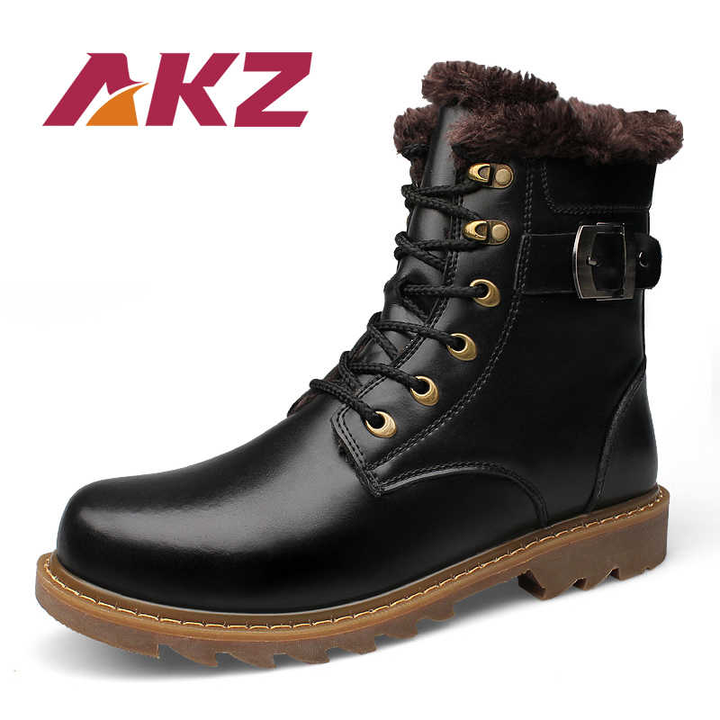AKZ Nieuwe Mode Echt Leer mannen Enkellaarsjes Winter Warme snowboots Hoge Kwaliteit Mannelijke Outdoor Werkschoenen Kant up