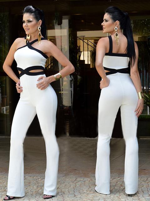 Novo 2016 Jumpsuit mulheres em geral Preto costura branca Macacão Cintas Sling Halter sexy moda cintura jumpsuit calças macacões