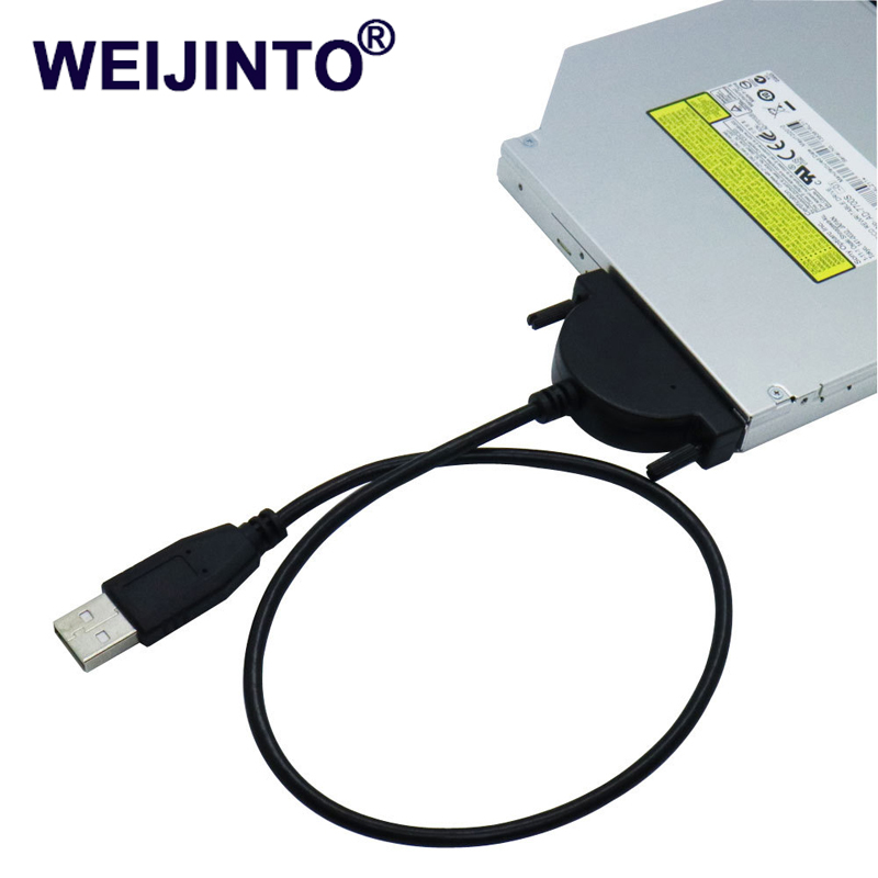 где купить WEIJINTO USB 2.0 to Mini Sata II 7+6 13Pin Adapter Converter Cable Screws steady style for Laptop CD/DVD ROM Slimline Drive дешево
