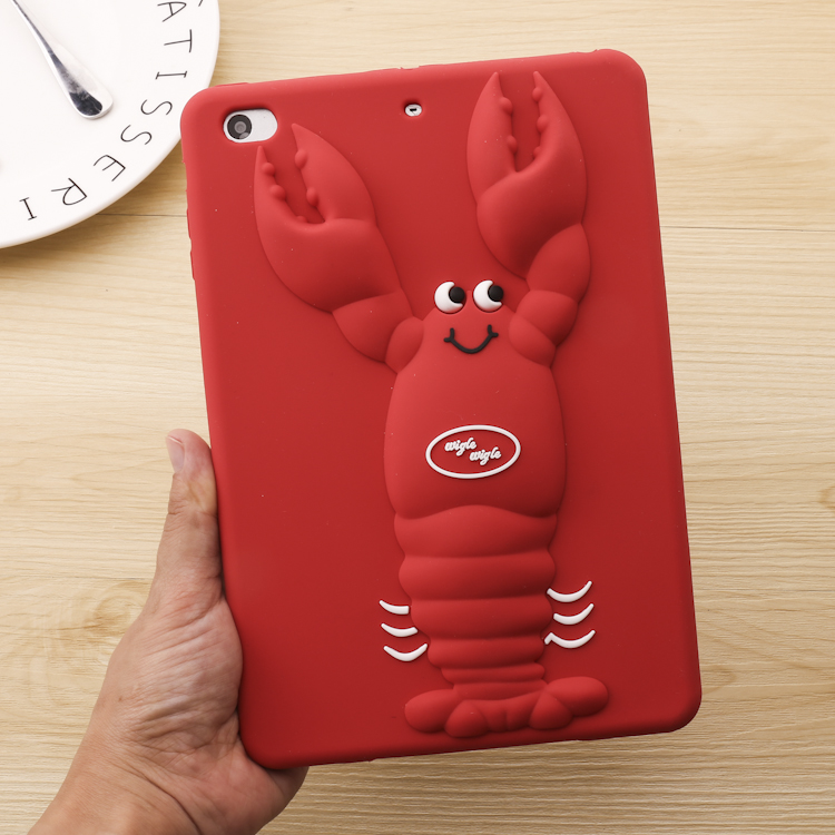 Cute Lovely lobster 3D Cover For IPAD Mini 1 2 3 Soft Silicone Case For IPAD Mini 4 ipad air air2 ipad 2 3 4 Cover Gift for ipad air 1 2 cute candy color soft silicone tablet case cover for ipad 5 6 mini 2 3 fashion slim lovely protective sleeve