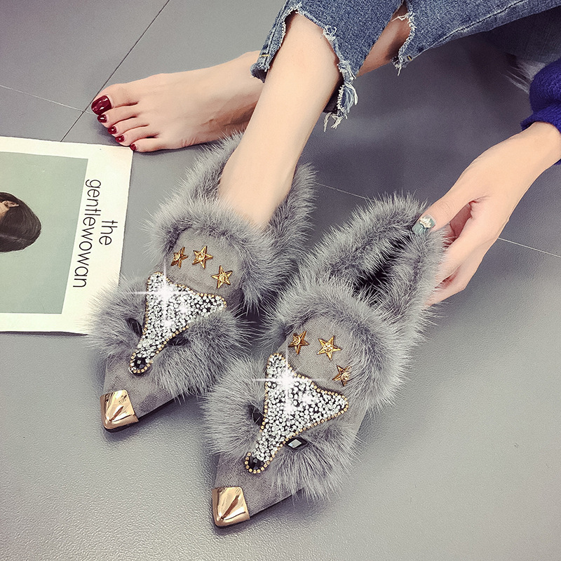 Crystal Fox Pattern Winter Flat Loafers Women Metal Pointed Toe Glitter Fur Moccasins Brand Design Ballet Flats Ladies Shoe