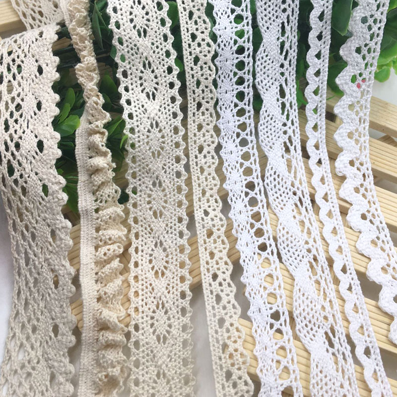 5 Yards/lot Ivory Trim Cotton Material Lace Trims Beige Clothing Decorative Ribbon Handmade Patchwork DIY Hometexile Sewing
