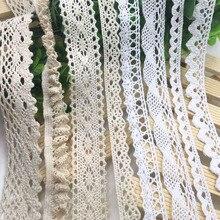 5 ярдов/партия отделка слоновой кости Хлопок Материал кружево отделка бежевый одежда декоративная лента ручной работы лоскутное шитье