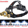 Zoomable 8000LM 3xCREE XM-L T6 Headlamp High Power LED Headlight 4Mode Head Torch light by 18650 battery