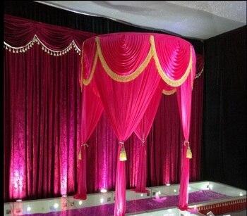 Decoración de boda de 2m de diámetro de color blanco rojo, baldaquín redondo de color personalizado/Chuppa/arbor, cortina de tela swag