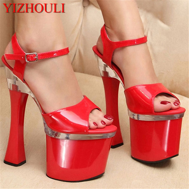 b9ef002e5caef HOT SALE 18cm Sexy High Heels Sandals Women 7 Inch Spool Heels Platform High-Heeled  Sandals