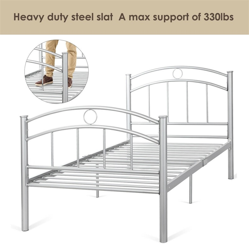 """44.2 Lbs 83"""" X 42"""" X 35"""" Twin Size Metal Bed High Quality Frame Steel Black Silver Sturdy Durable Home School Bed HW52056"""