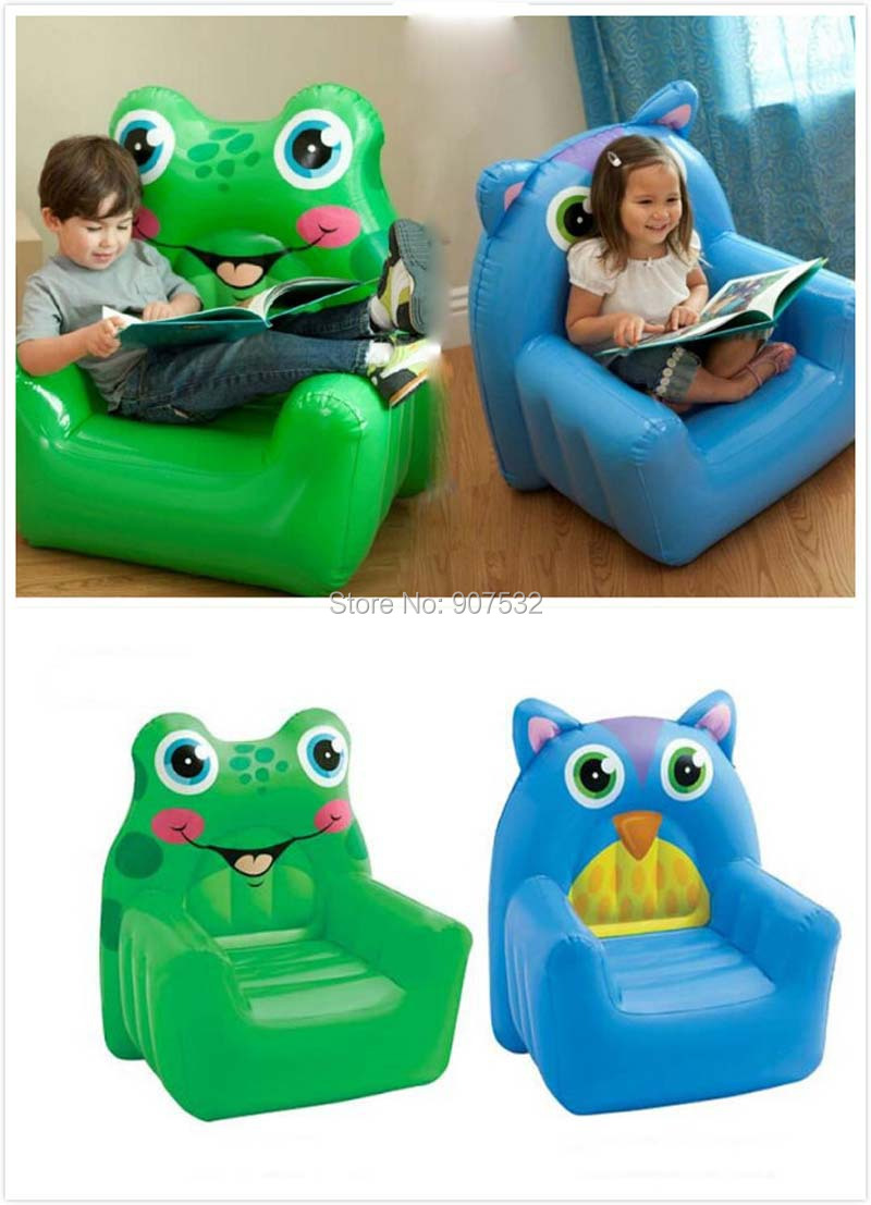 New Inflatable Animal Green Frog And Blue Owl Chair Kids