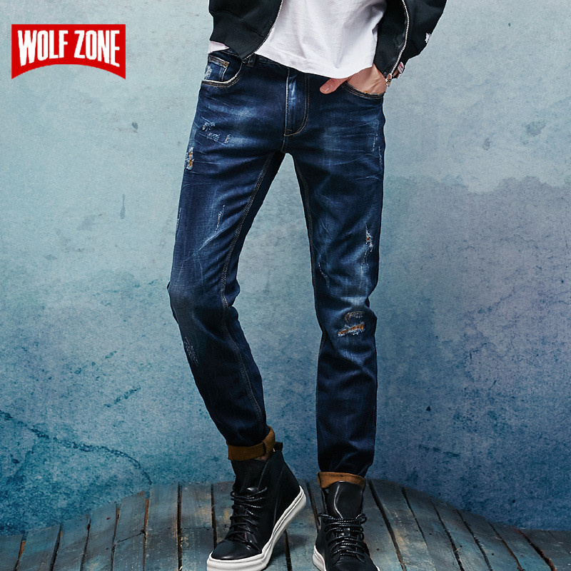 Top Fashion   Jeans   Men Cotton Distressed Homme Slim Mens Famous Brand Clothing Solid Mid Midweight Winter Autumn Full Length   Jean