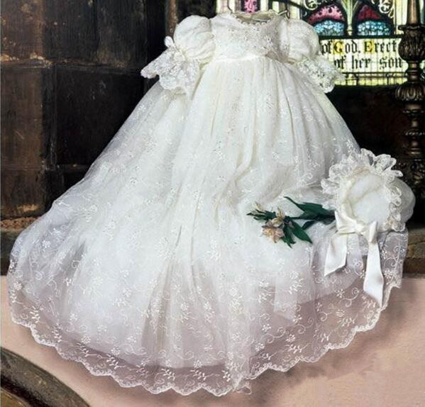 High Quality Baby Girls Christening Gown Baby Baptism Dress Lantern Sleeve Infant Outfit Baptism Dress WITH BONNET