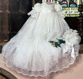 2017 Handmade Boys Girls Christening Gown Baby Dress Lantern Sleeve Outfit White/Ivory Lace Baptism Dress Robe WITH BONNET