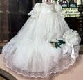 2017 hecho a mano muchachas de los muchachos traje de bautizo del bebé outfit dress manga farol blanco/marfil encaje bautismo dress robe con el capo