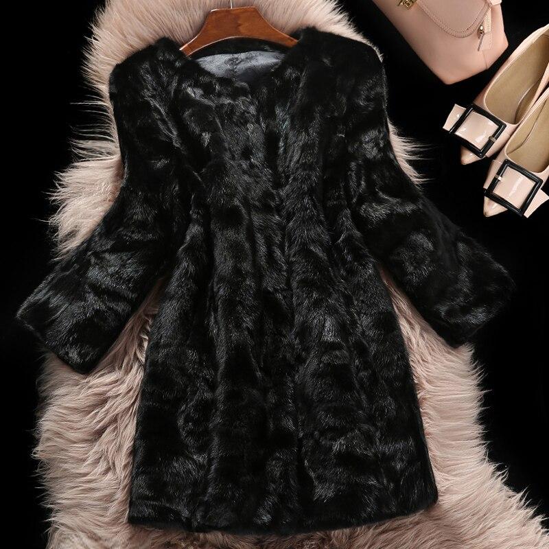 2019 New Fashion Factory Wholesale Hot Sale Real Mink Fur Long Overcoat Natural Fur Coat TSR90