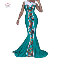 New African Print Mermaid Long Dresses for Women Bazin Riche Sexy Patchwork Dress African Women Clothing Vestidos Party WY3309