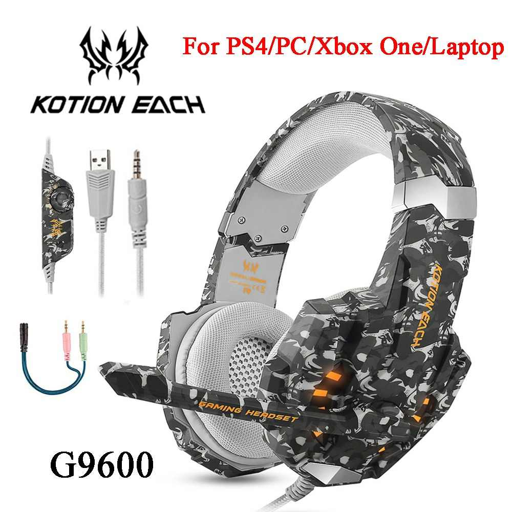 fb81010f161 KOTION EACH G9600 Stereo Camouflage Gaming Headset Noise Cancelling  Headphones with Mic LED Light for PS4