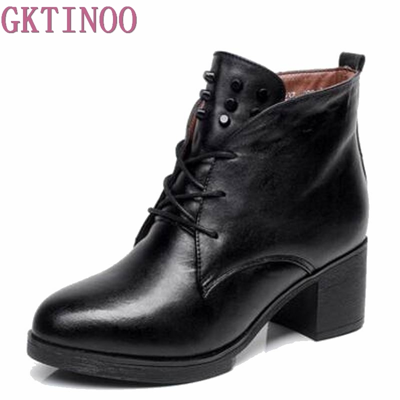 2018 Women boots genuine leather boots rivets square heels autumn winter ankle boots sexy fur snow