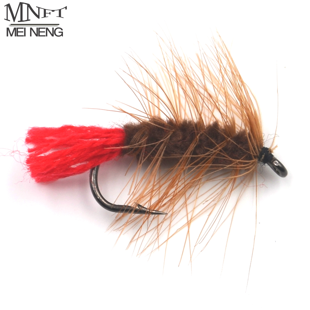 MNFT 10PCS 6# Brown Nymph Bugger Wooly Worm Fly Trout Fly Fishing Baits Red Tail Fishing Flies