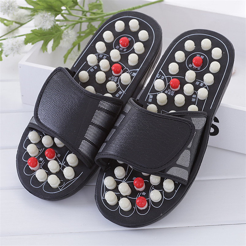 2 Colors One Pair Foot Massage Shoes Man And Women Rotating Foot Acupuncture Healthy Relaxation Slipper Sandals Reflex Stress 1 pair massage slipper 2 pieces 2 pin