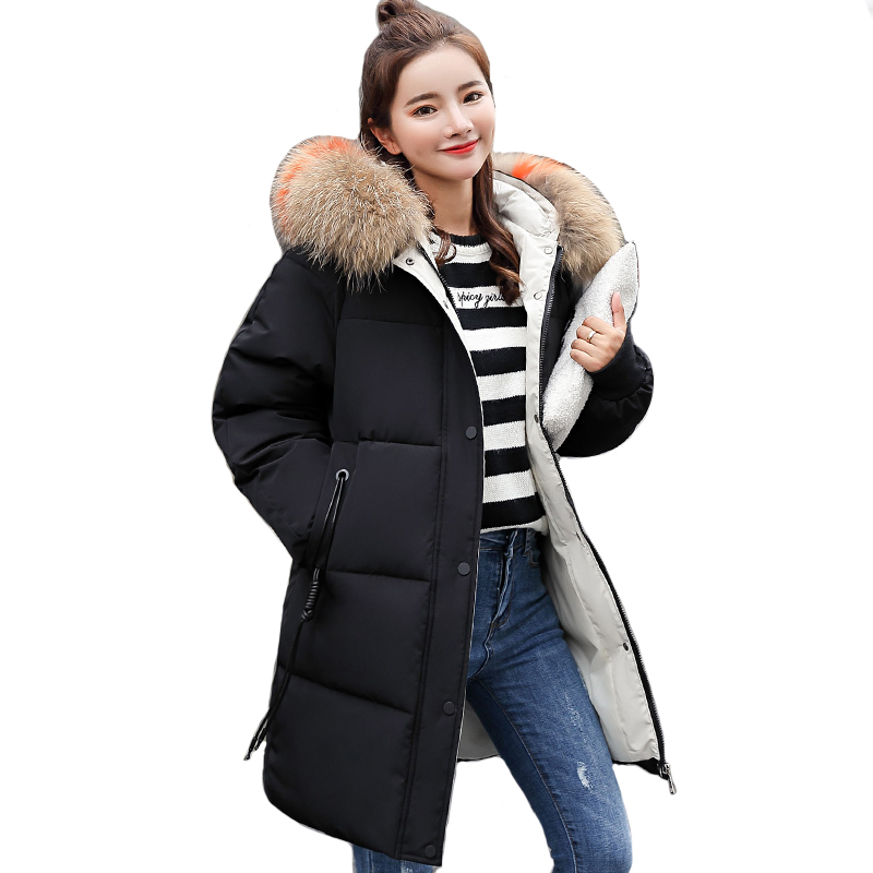 With Big Fur Collar Winter Jacket Women Hooded Cotton Padded Female Coats Long   Parka     Parkas   Breasted Buttons Chaqueta Mujer