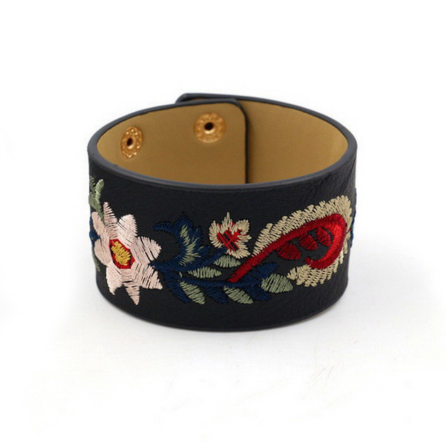 Zwpon 2018 Designer Embroidery Sunflower Leather Cuff Bracelets Bangles For Women Friendship Snap On