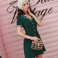 Women Dress Dark Green Lace Waist Dress Chiffon Vintage Woman's Gown Above Knee Mini V Neck Woman's Clothing Bodycon Dresses