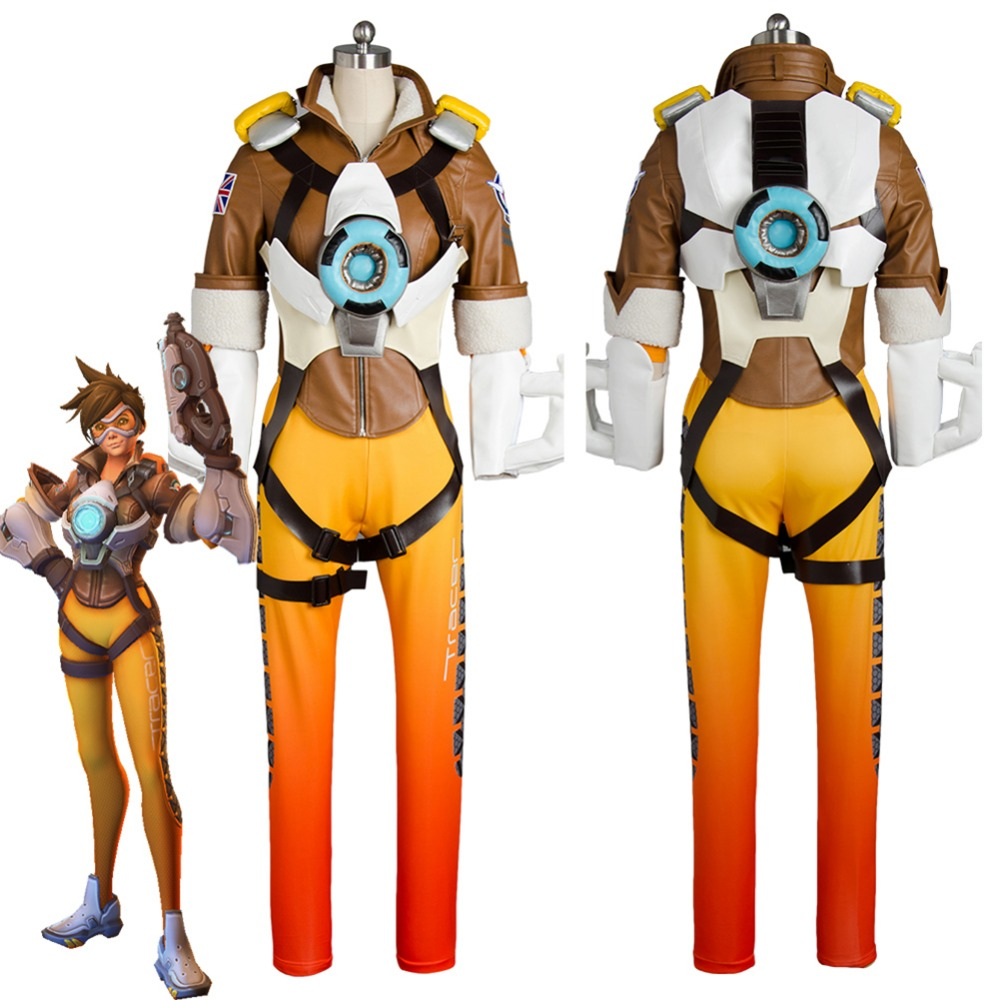 Game OW cosplay Lena Oxton Tracer Suit soldier 76 Tracer cosplay costume Halloween costumes for Adult Tracer costume Mask