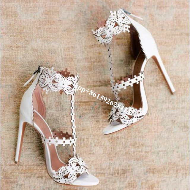 3a9294cc73b Laser Cut T-Strap Floral Bridal Wedding Shoes Woman Pumps Fashion Open Toe  White Cut Out Women High Heels Gladiator Sandals