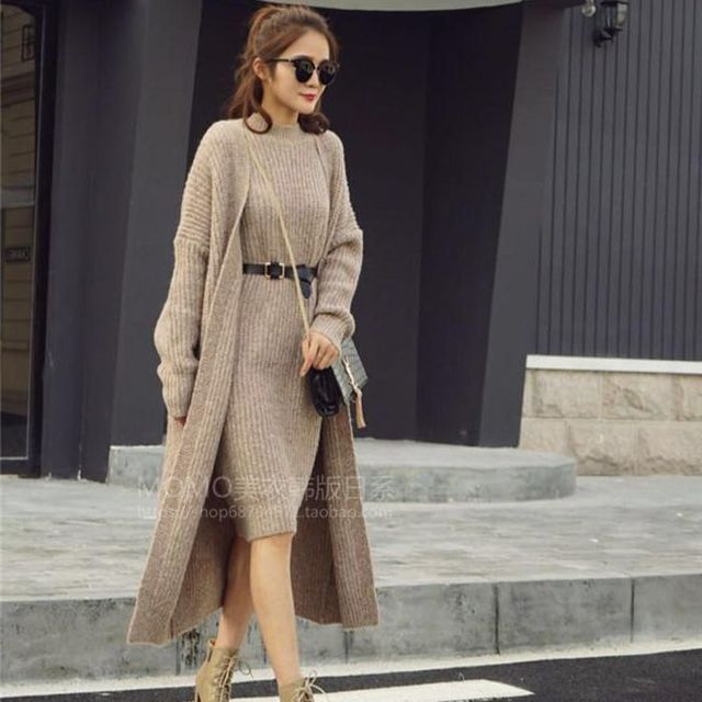 2016 Outono e Inverno Nova Moda Feminina Blusas De Malha Portão Leste Casaco Camisola Two-piece Suit Longo Cardigan Sweater