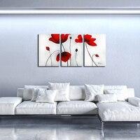 5D DIY Red Blooming Flowers 3pcs Embroidery Beaded Cross Stitch Full Round Diamond Painting Handmade Needlework