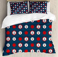 Anchor Duvet Cover Set, Nautical Pattern with Steering Wheels Big Red Polka Dots Hearts Sea Love, 4 Piece Bedding Set