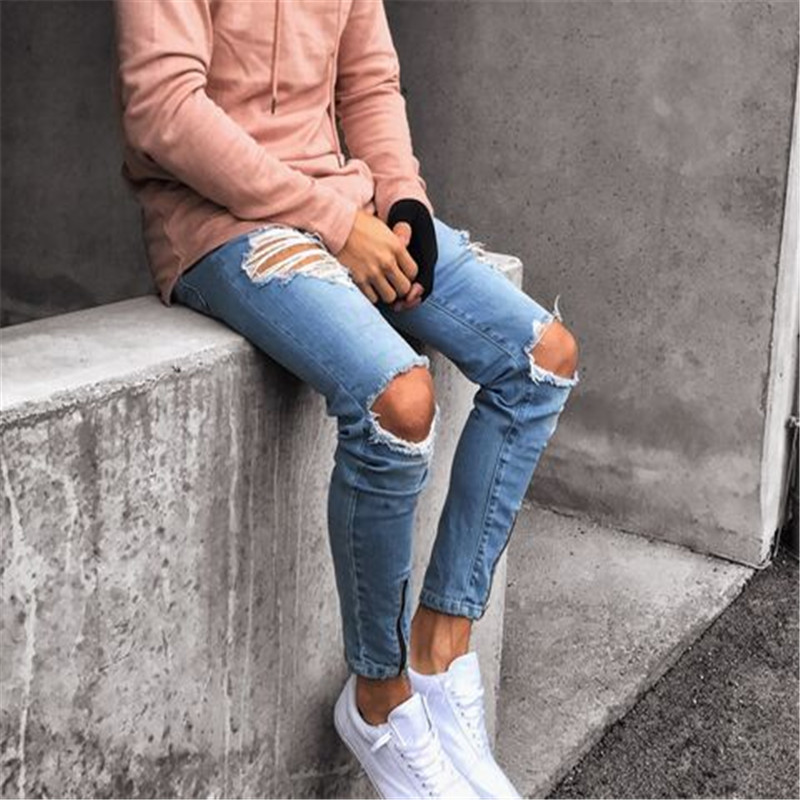 eaa9b7b2164 Men Jeans Stretch Destroyed Ripped Design Fashion Ankle Zipper Skinny Jeans  for Men's Hip-hop High-end Tight Zipper Holes Narrow | CoolTogs