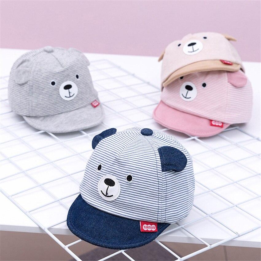 2019 Фирменная Новинка 4 цвета на зиму для новорожденных и малышей, кепки для девочек, мальчиков Бейсбол шапки унисекс с изображением медведя ...