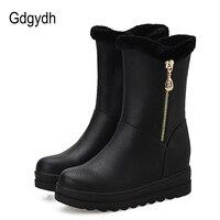 Gdgydh Russian Winter Shoes For Women Plush Inside 2017 New Arrival Fashion Chain Warm Fur Women