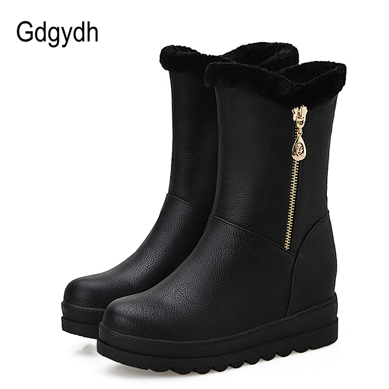 Gdgydh Russian Winter Shoes For Women Plush Inside 2018 New Arrival Fashion Chain Warm Fur Women Snow Boots Slip-on Big Size 43 2015 new arrival fashion women winter snow boots warm ladies shoes bowtie slip on soft cute shoes purple color sweet boots