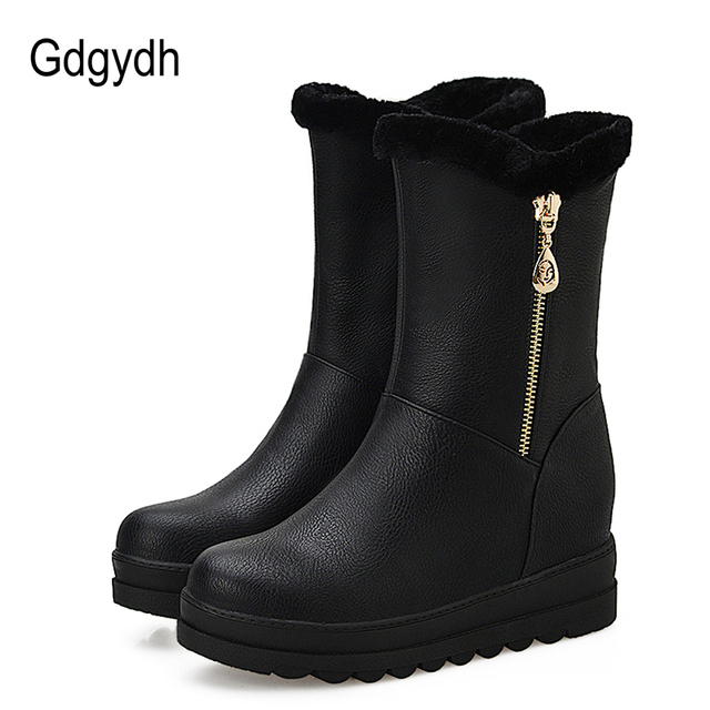 Gdgydh Russian Winter Shoes For Women Plush Inside 2018 New Arrival Fashion Chain Warm Fur Women Snow Boots Slip-on Big Size 43