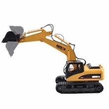 HuiNa Toys 1550 15 каналов 2,4G 1/12 RC металлический экскаватор зарядка 1:12 RC автомобиль с батареей RTG