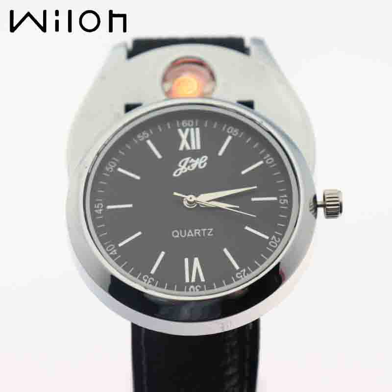 2018 Lighter Watch For Men sports Casual USB Charging clock fashion Windproof Quartz watches Flameless Cigarette Lighter JH318