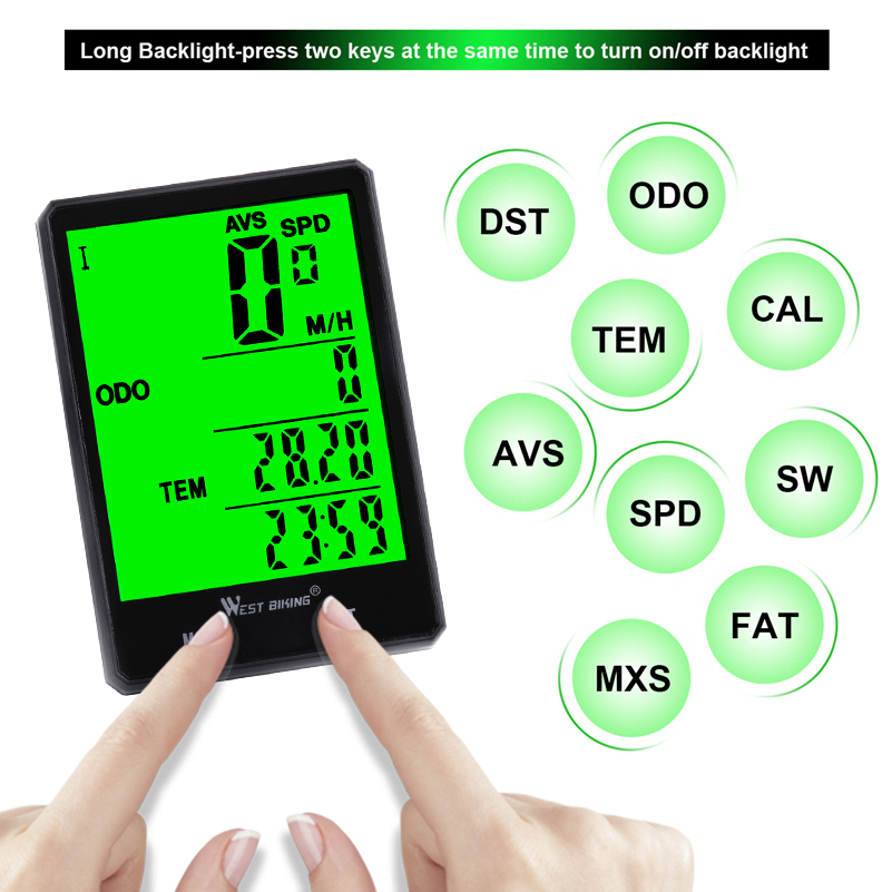 "Image 3 - WEST BIKING 2.8"" Large Screen Bicycle Computer Wireless Wired Bike Computer Rainproof Speedometer Odometer Stopwatch for Cycling-in Bicycle Computer from Sports & Entertainment"