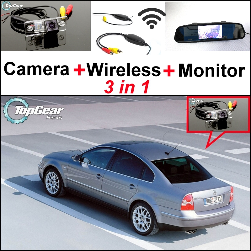 ФОТО 3 in1 Special Rear View Camera + Wireless Receiver + Mirror Monitor Easy DIY Parking System For Volkswagen VW Passat B5 Magotan