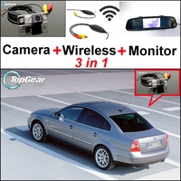 3 in1 Special Rear View Camera + Wireless Receiver + Mirror Monitor Easy DIY Parking System For Volkswagen VW Passat B5 Magotan