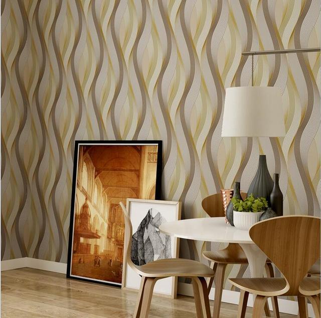Moderne Geometrique 3d Papier Peint De Conception Ondules Ligne Art