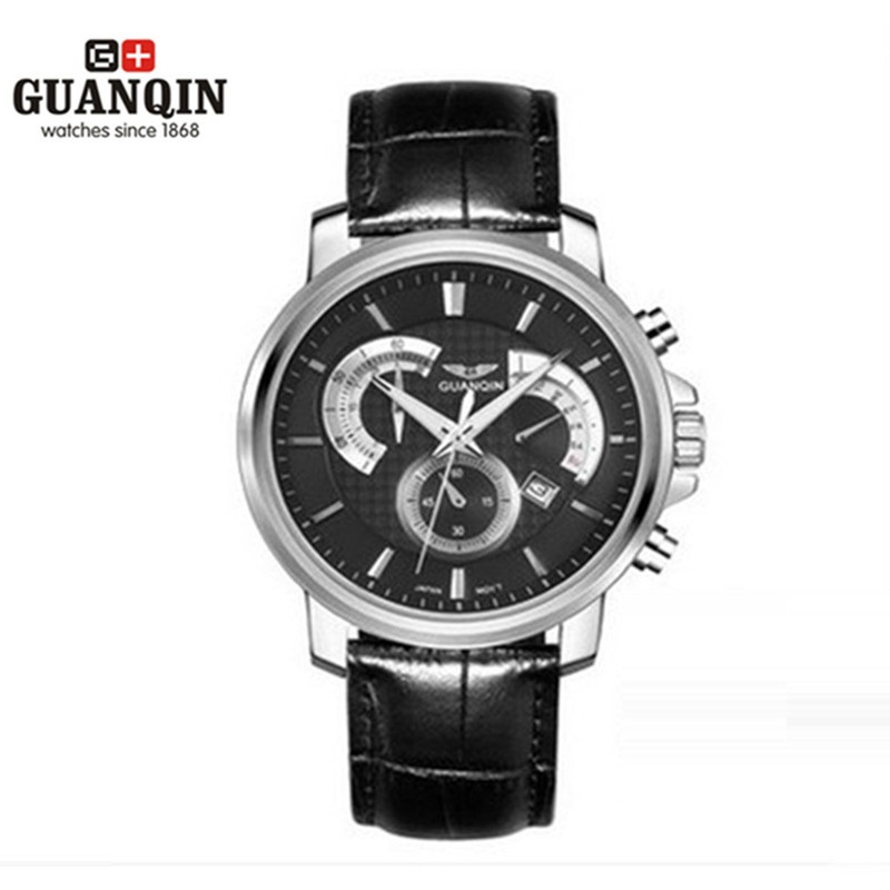 Original GUANQIN Men Watches Luminous Luxury Mens Quartz Watch Sport Leather Male Watches Sapphire Clock Relogio Masculino Reloj korea natural thermal massage bed jade tourmaline health care germanium electric heating cushion physical therapy mat 1 2x1 9m