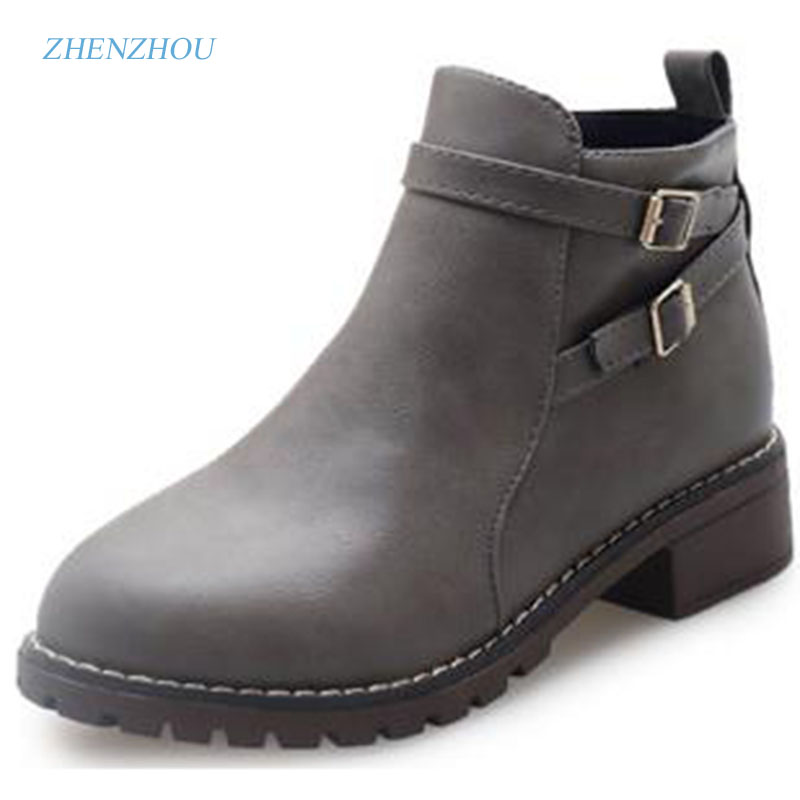 zhenzhou 2017 autumn and winter The new Europe and the United States Round head Low heel buckle Female boots Martin boots europe and the united states new handsome british wind pointed thick boots snake belt buckle especially exquisite single boot