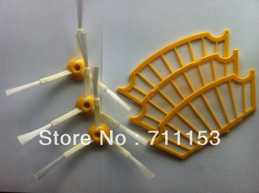 3 Piece Filter and Side Brush for iRobot Roomba 500 520 550 560 570 Series Cleaner bristle brush flexible beater brush fit for irobot roomba 500 600 700 series 550 650 660 760 770 780 790 vacuum cleaner parts