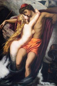High Quality Sexy Naked Painting on Canvas The Fisherman and the Syren by Lord Frederic Leighton Portrait Wall Art