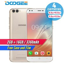 Original DOOGEE X30 Four Camera 2x8.0MP+2x5.0MP Android 7.0 mobile phone 3360mAh 5.5'' MTK6580A Quad Core 2GB+16GB Smartphone(China)
