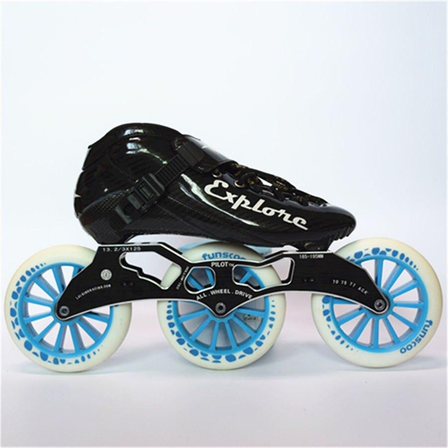 EUR taille 30-44 Vitesse Inline Patins En Fiber De Carbone Concurrence Skate 3*125mm Rue Course De Patinage Patines similaire Avec Powerslide